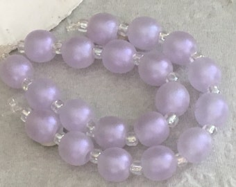 Handmade Lampwork Glass Beads SRA Lavender Shimmering Sea Pearl Rounds (10)