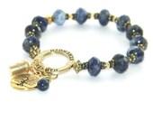 """Sobriety Jewelry - 12 Step recovery Bracelet - """"Strength"""" - Blue Sodalite Gemstone Beads"""