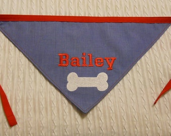 Personalized Dog Bandana with Bone S to XL in tie style
