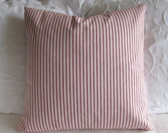 FRENCH TICKING pillow cover red white 16x16 18x18 20x20 22x22 24x24 26x26