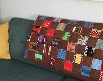 Vintage unique 1960s hand stitched patchwork quilt floral cotton brown silk