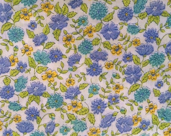 Vintage lightweight Floral Cotton Fabric Blue Turquoise Yellow Chartreuse 2 Yards