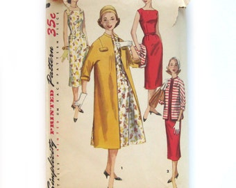 1950s Vintage Sewing Pattern / Sheath Dress and Coat / Simplicity 1473 / Size 14