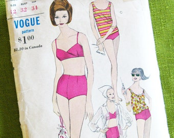 1960s Beach Wear Pattern 2 PC Bathing Suit, Swimsuit Cover Up Bond Girl Style Vogue 6175 // Bust 32