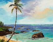 WAIMEA BAY Framed Original Oil Painting Art Artwork Hawaii Hawaiian Palm Tree North Shore Jump Rock Vacation Tropics Surf Ocean Tropical Fun