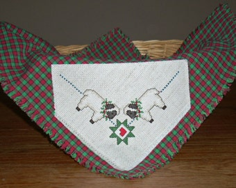 Bread Cover/Basket Liner with Christmas Lambs