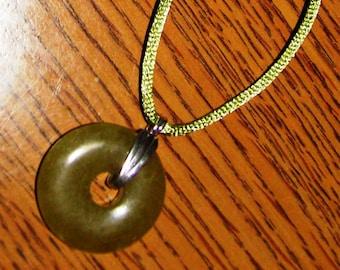 Gemstone Sterling Donut Pendant Jade