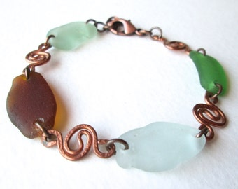 Oxidized Copper Bracelet with Custom Copper Swirl Details and Genuine Sea Glass Accents