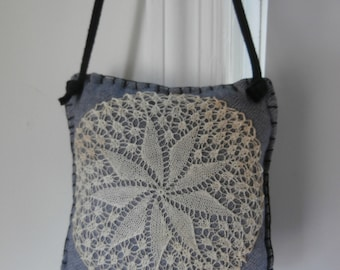 VINTAGE LACE DOILY Pinkeep Pincushion From Denim and Tatted Lace Doily
