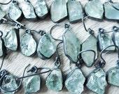 ON SALE Raw aquamarine earrings | Brazilian aquamarine | Rough stone earrings | Birthstone earrings | Aquamarine crystal earrings