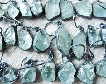 SALE Raw aquamarine earrings | Brazilian aquamarine | Rough stone earrings | Birthstone earrings | Aquamarine crystal earrings