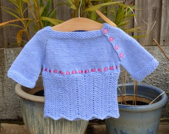 Knitting Pattern Baby Child Sweater Jumper 4 ply -  a Top Down Seamless Sweater (5 Sizes for 0 - 4 years) - Grace