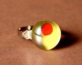 Hand Painted Olive Adjustable Ring - Dirty Martini Olive - Adjustable Olive Ring - Dirty Martini Olive Cocktail Ring - Cocktail Jewelry