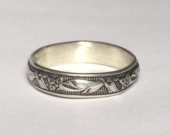 Sterling Silver Ring, Mens Silver Ring, Wedding Ring, Ornate Ring, Unique Wedding Band, Floral Wedding Band, Mens Band, Womens Silver Ring