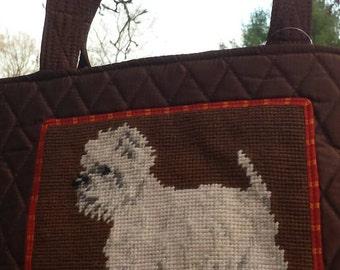 Westie Westhighland terrier  needlepoint quilted handbag purse