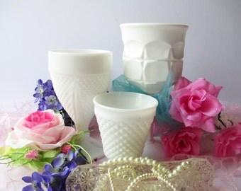 Milk Glass Goblet Vase Collection of Three - Vintage Weddings Bridal