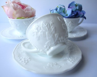 Vintage Colony Harvest Milk GlassTeacups and Saucers Set of Three - Wedding Decor
