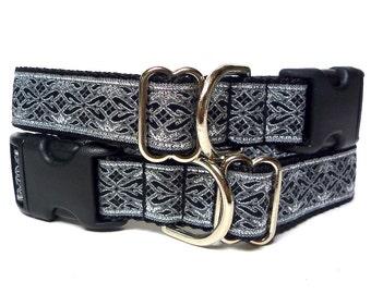 OLD ENGLISH,Dog Tag Collar, buckle dog collar, house dog collar, Black and metallic silver, metallic dog collar, medieval dog collar