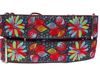 """Martingale Dog Collar 1.5"""" wide red, black and teal tropical print MODERN FLORAL, Safety Collar, Greyhound Collar, Sighthound Collar"""