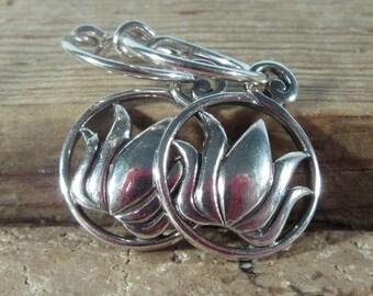 Hoop Earrings Lotus Dangles Silver - Lotus Hoop Earrings, Lotus Flower Earrings, Yoga Earrings, Yoga Hoops, Zen Earrings, Silver Hoop