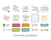 Handwritten Planner Stickers: Instant Download