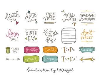 SALE! Handwritten Planner Stickers: Instant Download