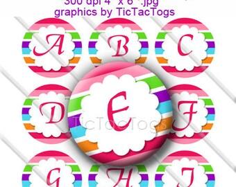 Colorful Scalloped Edge Bottle Cap Images Digital Inch Circle Alphabet Alpha A-Z Images 4X6 - Instant Download - BC472