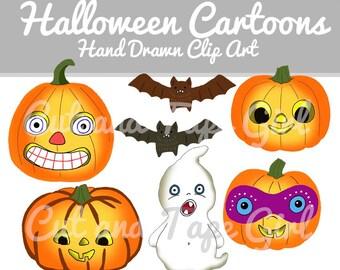 Halloween Clip Art - Pumpkin Clipart, Jack O Lantern, Hand Drawn Clipart, Bat Clip Art, Ghost Drawing