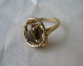 Tiger Eye Ring Gold Vintage Size 6