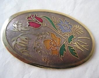 Flower Enamel Brooch Gold Mauve Red Green Vintage Pin