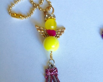 NATASHA Guardian Angel Rearview Mirror Charm,  Angel Purse Charm, Ornament, faith Charm