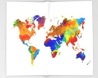Throw Blanket, Fleece Blanket, Sofa Throw, World map Design 33 watercolor colorful art Lucie Dumas