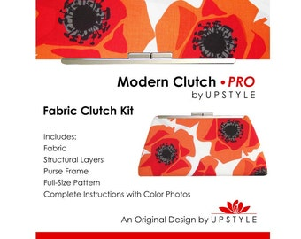Modern Clutch - PRO Fabric Clutch Kit by UPSTYLE - Orange Red Modern Floral - Poppy Modern Fabric by Jane Dixon