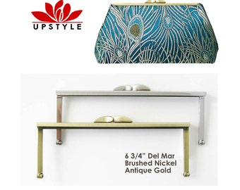 """FREE US Shipping - Set of 12 - 6 3/4""""  Modern Purse Frames by UPSTYLE - Brushed Nickel and/or Antique Brass"""