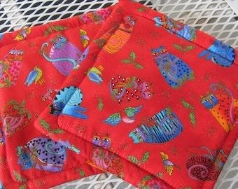 Laurel Burch Cat Fabric Pot Holders/ Trivets, 2 Cotton Pot Holders