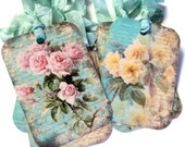 8 Gift Tags, Cottage Chic Floral Mint Green with Pink Roses, Floral Tags, Party Favor Tags, Merchandise Tags
