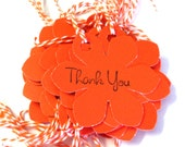 25 Tags, Gift Tags, Thank You, Merchandise, Hang, Orange, Funky Flowers