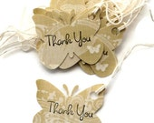 17 Gift Tags, Butterflies in Light Green with Butterflies and a Fleurish Design, Thank You, Hang Tags, Party Favor Tags
