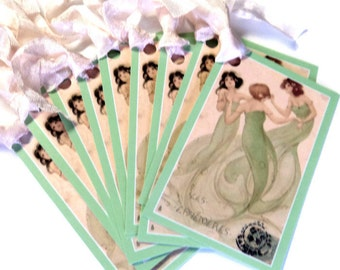 4 Gift Tags, Dancing Spirits, Women Dancing, Light Green, Party Favor Tags, Merchandise Tags