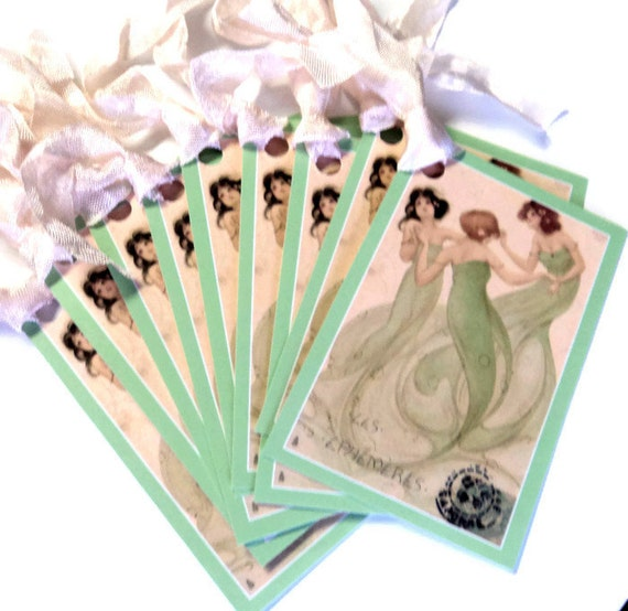 8 Gift Tags, Dancing Spirits, Women Dancing, Light Green, Party Favor Tags, Merchandise Tags