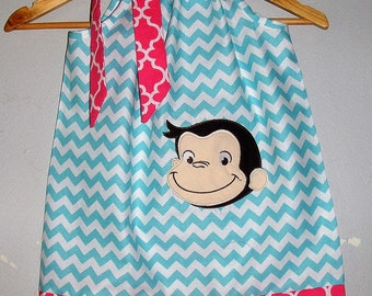 Curious George SALE 10% off code is tiljan dess Aqua pink Chevron appliqued pillowcase dress sizes 3, 6,12, 18 months  2t,3t,4t,5t,6,7,8,10
