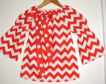 Red Chevron stripe  peasant tunic top, long sleeve (available in sizes   2t,3t,4t,5t, 6, 7, 8 ,10  CHILDS top