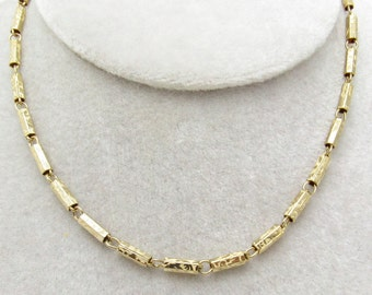 Vintage Choker Etched Bar Link Necklace Jewelry N7289