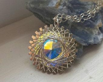 50% Off Spiro Pendant, Sterling Silver, Wire Wrapped, Iridescent Swarovski Crystal Rivoli, Steampunk