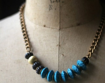 Turquoise Cinnabar Necklace with Blue Goldstone, Gold Brass, Asian Inspired, Ethnic, Tribal