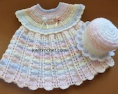 Dress and Sun Hat Baby Crochet Pattern (DOWNLOAD) FJC82