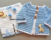 Coat and Bloomers Baby Crochet Pattern (DOWNLOAD) FJC84