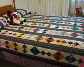 FREE SHIPPING.... Beautiful handmade quilt- brilliant colors, excellent condition, gently used- Price reduced