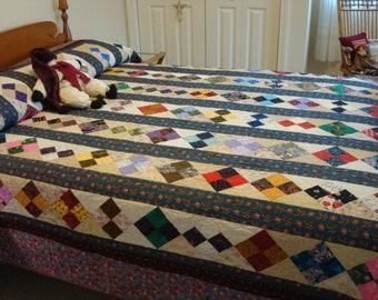 Reduced....FREE SHIPPING.... Beautiful handmade quilt- brilliant colors, excellent condition, gently used- Price reduced