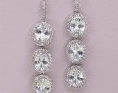 Long Crystal Earrings Rhinestone Bridal Earrings Cubic Zirconia Wedding Earrings White Gold Bridal Earrings Crystal Bridal Jewelry
